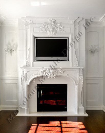 French Louis Marble Fireplace Mantel