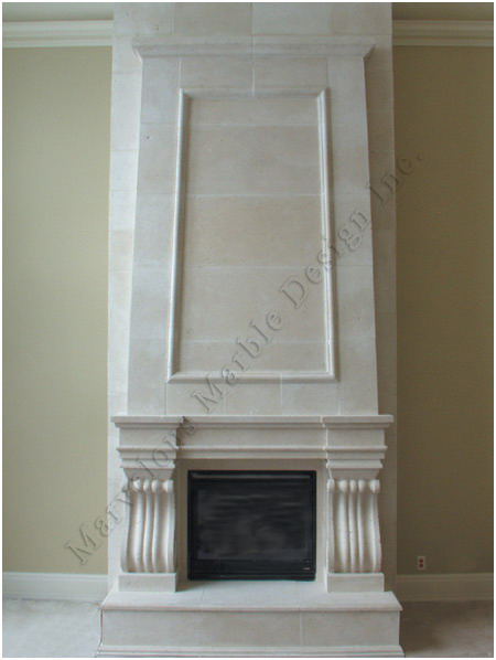 custom designed marble mantel